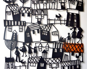 VILLAGE Papercut of Houses and People / Paper Cut of Buildings / Paper Cutting Wall Art / Black and White Art / Papercut Art / Housewarming