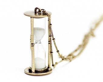 Hourglass hourglass necklace Miniblings 5 cm running SAND clock timer 80 cm bronze