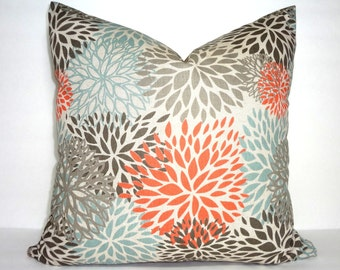 NEW Blooms Blue Grey Orange Floral Pillow Cover Decorative Natural Flower Print Pillow Cover Choose Size