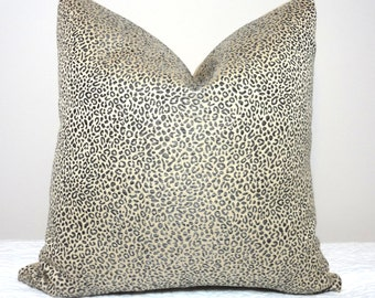 Decorative Animal Print Pillow Cover Leopard Charcoal Grey Tan Pillow Cover Leopard Print Throw Pillow Cover 18x18