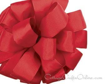 "Wired Ribbon, 2 1/2"" Red  Taffeta - THREE YARDS  - Offray ""Revogue Red"" Wedding, Valentine, Summer, Christmas Wire Edged Ribbon"