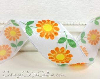"Wired Ribbon, 1 1/2"", Orange Daisy, Yellow Center Floral Print Taffeta - THREE YARDS - ""Flirt"" Spring, Flower Wire Edged Ribbon"