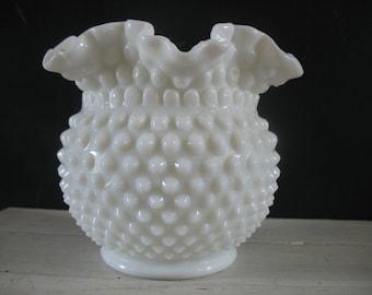 Vintage Hobnail Milk Glass Fluted Bowl