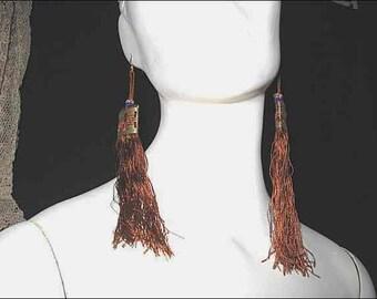 "Vintage Long Silk Tassels; 5"" L; Asian, Oriental; Gold, Auburn & Blue Threads; Metallic Bead at Top; Set of 8"