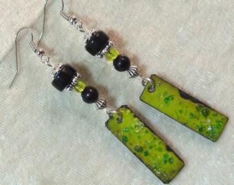 Lampwork and Enameled Metal Earrings - Avocado Green and Black