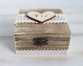 Rustic Wedding Ring Box Personalized Ring Bearer Box Wedding Box Customizable Ring Bearer Box Ring Keepsake Box Burlap Wedding Box