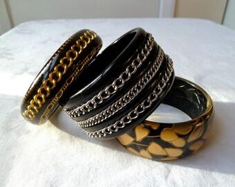 Vintage 1990's 1 of 3 Inset Metal Chain, Gold Leaves, Black Acrylic Bangles, Biker, Rocker, Goth, Punk, Dark Chic Fashion Bangles, Bracelets