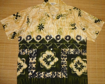 Mens 60s Vintage Tropicana Tribal Tiki Surf Hawaiian Shirt - L - The Hana Shirt Co