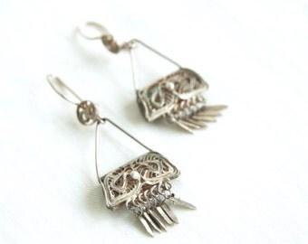 Filigree Dangle Earrings Vintage Mexican Sterling Silver Dangles Fringe Purse Handbag Colonial Style