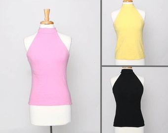 Vintage 90s Summer Tank Top Halter Top  Light Pink Light Yellow or Black Medium