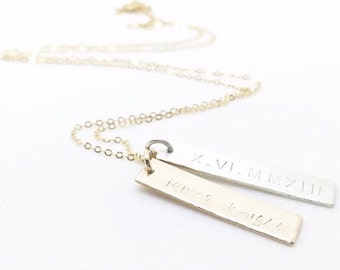 Mixed Metal Nameplate Necklace in Sterling Silver and 14K Gold Fill, sterling bar necklace, monogram pendant, double pendant, mother's day