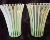 Fenton Art Glass Yellow Topaz  Opalescent Rib Optic Stripe Tumbler