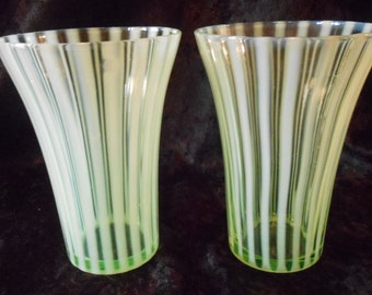 Fenton Art Glass Yellow Topaz  Opalescent Rib Optic Stripe Tumbler