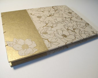 Large Metallic Gold and Ivory Floral Guest Book: Magnolia Cream and Gold Wedding Guestbook
