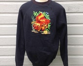 Hilarious 1980's sweatshirt with an embroidered goldfish, fits like a large