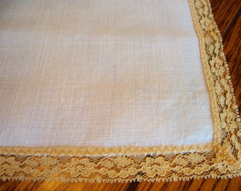 Linen Centerpiece Doily Gold Lace Trim Vintage Table Topper Doilies