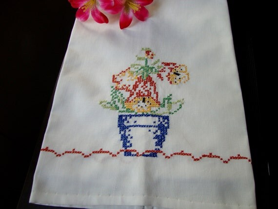 Embroidered Kitchen Towel Vintage Tea Towel French Country