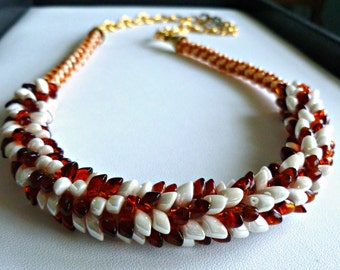 "Beaded Kumihimo cluster necklace with amber & off white dragons teeth, statement necklace, ""Dragon Freckles"""