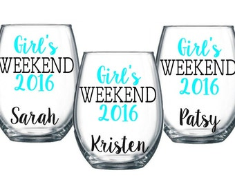4 Girl's Weekend Stemless Wine Glass