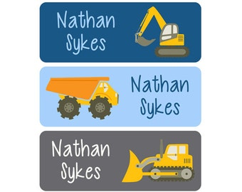 Boy Name Labels, School Name Labels, Daycare Name Labels, Clothing Tags, Name Tags, Construction, Dump Truck, Bulldozer, Loader, Blue, Brown