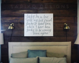 Hand painted 'Lucky' on Canvas OR Wood - Jason Mraz and Colbie Caillat