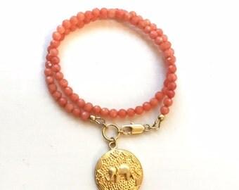 Peach Bracelet - Jade Gemstone Jewellery - Elephant Charm - Wrap - Gold Jewelry