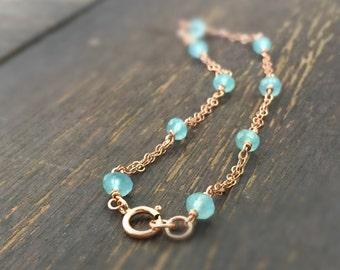 Aqua Chalcedony Bracelet - Rose Gold Jewellery - Gemstone Jewelry - Chain - Dainty
