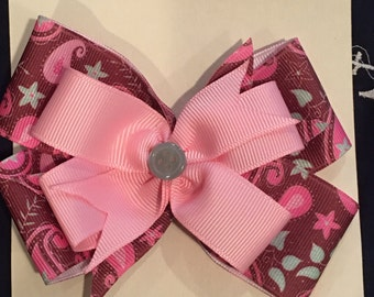 Pink and brown Paisley bow