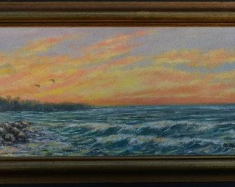 Breakers (C) 2013 by K. McDermott - framed original 6 X 13 inch oil painting on canvas