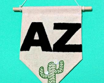 SALE! - Arizona Pride Sign - Mini Canvas Banner - Embroidered Wall Hanging - Dorm Room Decor - Housewarming Gift - Arizona State Wall Art