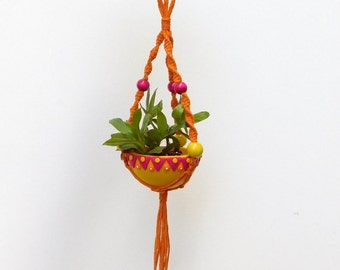 Micro Macrame Plant Hanger, mini planter, macrame hemp hanging plant holder with matching polymer clay bowl