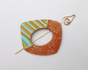 Shawl Pin, Scarf Accessory, polymer clay and copper wire pin