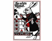 The White Rabbit Alice in Wonderland Vintage Art Print Red and Black and White Lewis Carroll Nursery