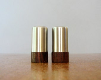 Scandinavian Modern Stainless / Teak Salt and Pepper Shakers Japan