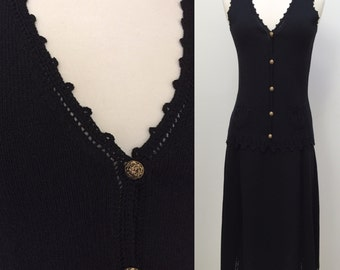 Vintage 1960s Adolfo at Saks Fifth Avenue Black Knit Skirt and Sleeveless Top Set with Beautiful Trim and Pockets
