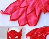 Owlette Wings and Mask - Felt wings and Mask owlette - Owl felt wings - Sturdy felt cape and mask for owlette costume