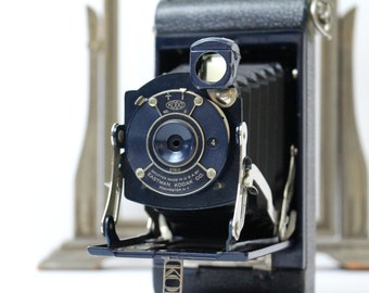 Navy Blue Vintage Kodak Folding Camera  - Kodak Pocket Junior No 1 Folding Camera with Instruction Manual - c. 1926 - 1934