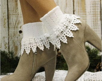 Lace socks  in  White,  boot socks, wedding socks, fashion, dress, fall, accessories, lacy, peep, boot socks, booties, cuffs,  SLR!