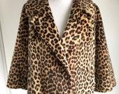 Vintage Faux Leopard Jacket by Somali By Fairmoor, Size Large