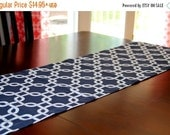 SALE Navy Table Runner- Premier Prints Navy Blue Gotcha Chainlink Nautical Home Decor- Wedding, Dinner Party, Shower- Table Topper- Kitchen
