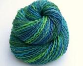 SALE Handspun Art Yarn - GENTLE REMINDER - Handpainted Silk / Bluefaced Leicester wool, Sport weight, 330 yards