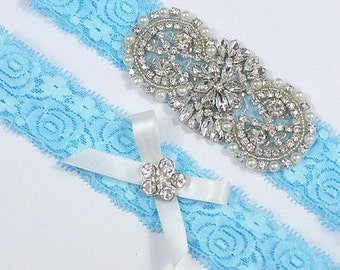 SALE BLUE Crystal pearl Wedding Garter Set, Stretch Lace Garter, Rhinestone Crystal Bridal Garters