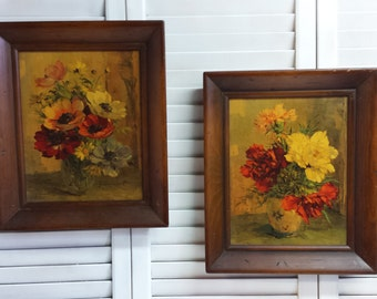 Floral Prints Wood Frames Carnations Poppies