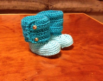 Baby booties, baby boots crocheted in teals. Made to order. Multiple sizes available.