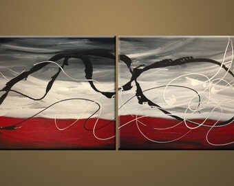 """ABSTRACT ORIGINAL Modern """"Dust in the Wind"""" painting Red Gray colour Large contemporary Fine Art texture oil 16x40 Painting by IraSher"""