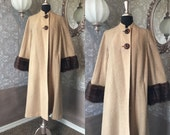 Vintage 1940's 1950's Tan Boucle' Winter Coat with Mink Cuffs Medium