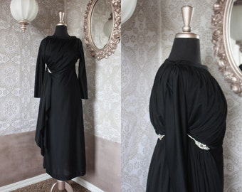 Vintage 1970's Black Evening Gown with Draping and Rhinestones Medium