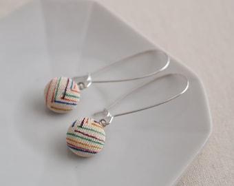 Kimono silk mini hook earrings- geometric, white, colourful