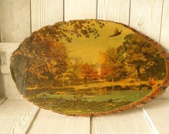 Vintage woodslice art landscape pheasant hunting Montana souvenir 1960s