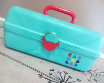 NBU Caboodles Retro Makeup Case 2602 Makeup Storage Jewelry Box Storage Box Caboodle Aqua Hot Pink 1980 Gift for Her Toiletry Case Organizer